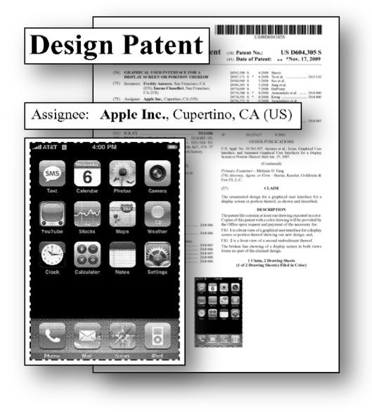 design patent litigation graphics apple