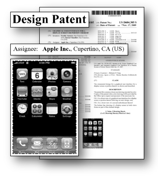 design patent litigation graphics apple