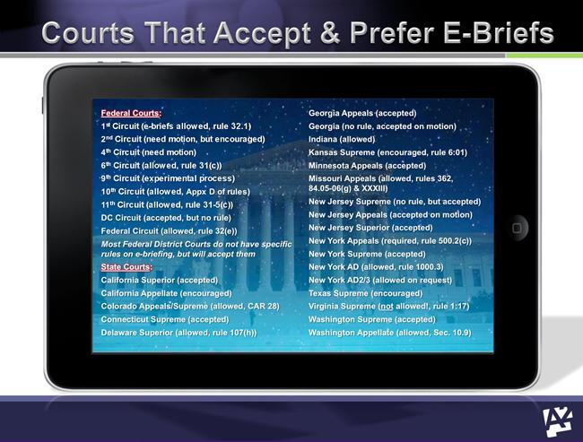 list of courts prefer ebrief ipad hyperlinking hyperlinked