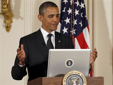 president obama whitehouse presentation powerpoint laptop