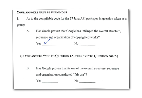 oracle google verdict form
