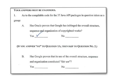 oracle google verdict form