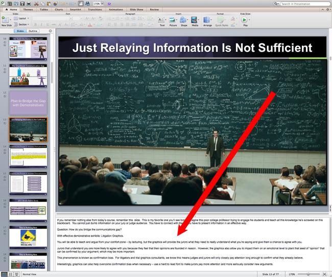 powerpoint speaker notes litigation graphics